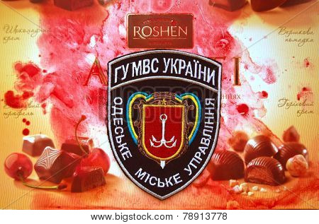 Illustrative editorial. Chevron of Ukrainian Police in Odessa Region.With logo Roshen Inc. Trademark Roshen is property of ukrainian president Poroshenko.At December 20,2014 in Kiev, Ukraine