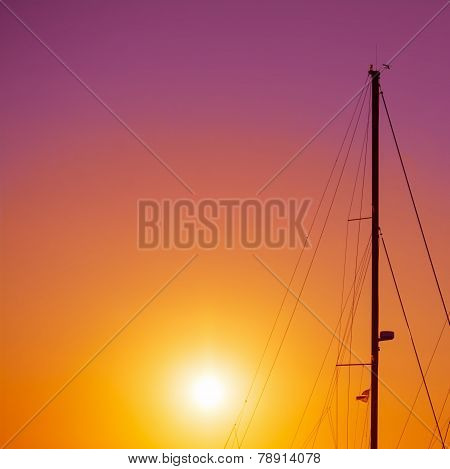 Boat Mast Silhouette On A Colorful Night