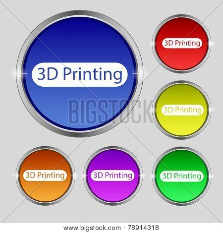 3D Print Sign Icon. 3D-printing Symbol. Set Of Colored Buttons. Vector