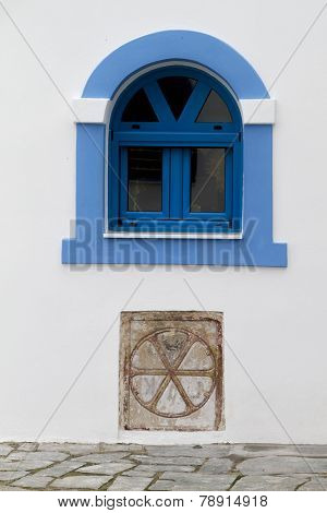 Beautiful Window At Saint Nikolaos Monastery. Porto Lagos Area At Thrace, Greece.