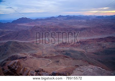 Egypt, the morning twilight in the Sinai mountains