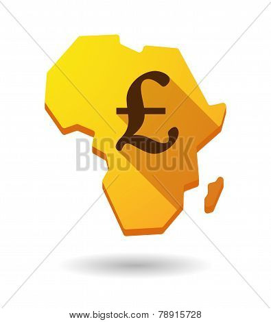 Africa Continent Map Icon With A Currency Sign