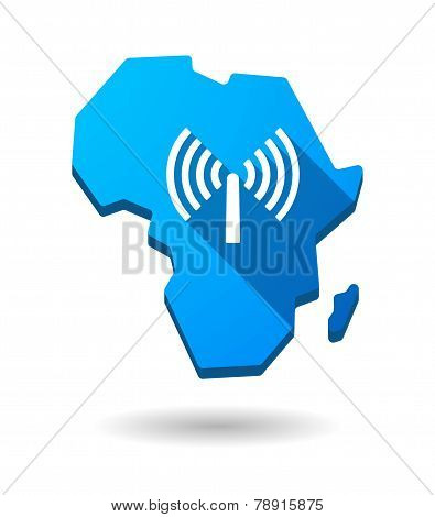 Africa Continent Map Icon With An Antenna