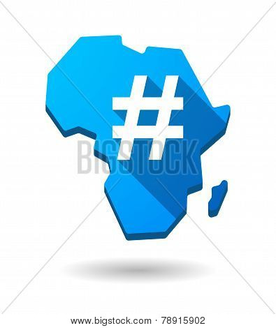 Africa Continent Map Icon With A Hash Tag
