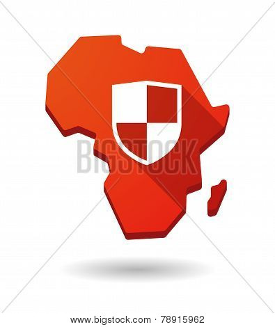 Africa Continent Map Icon With A Shield