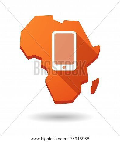 Africa Continent Map Icon With A Phone