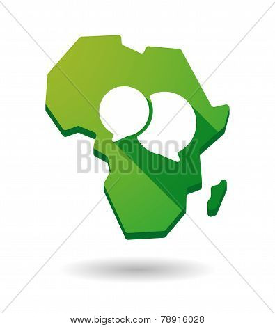 Africa Continent Map Icon With A Comic Balloon
