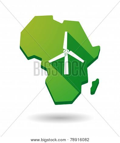 Africa Continent Map Icon With A Wind Generator