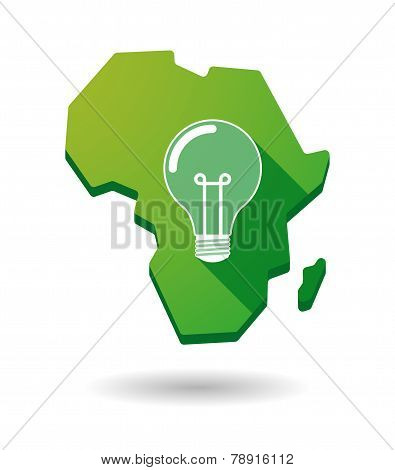 Africa Continent Map Icon With A Light Bulb
