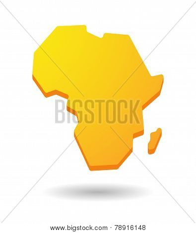 Yellow Africa Continent Map Icon