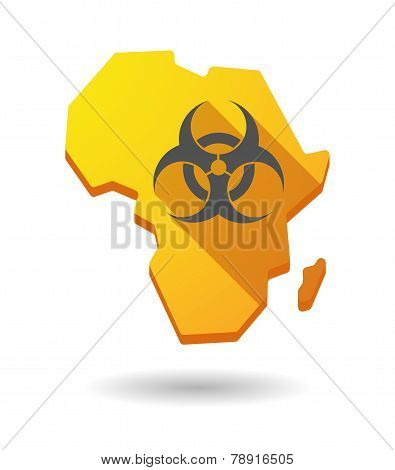Africa Continent Map Icon With A Biohazard Sign