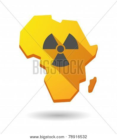 Africa Continent Map Icon With A Radioactivity Sign