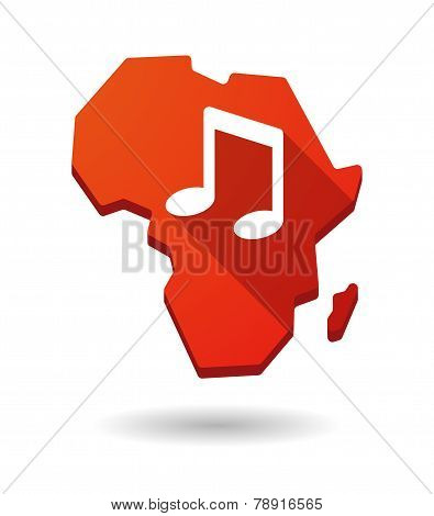 Africa Continent Map Icon With A Note Music