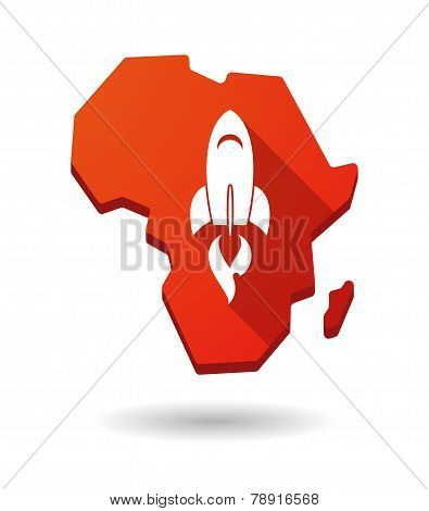 Africa Continent Map Icon With A Rocket