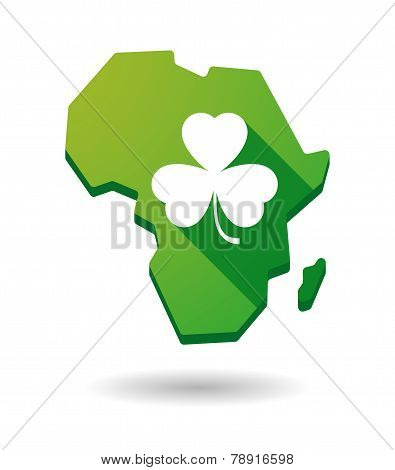 Africa Continent Map Icon With A Clover