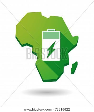 Africa Continent Map Icon With A Battery