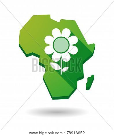 Africa Continent Map Icon With A Flower
