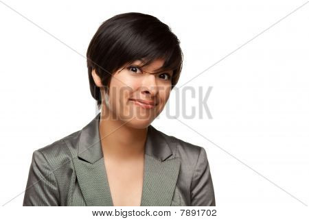Pretty Multiethnic Young Adult Woman Head Shot On White