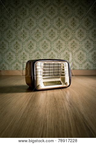 Vintage Radio On The Floor