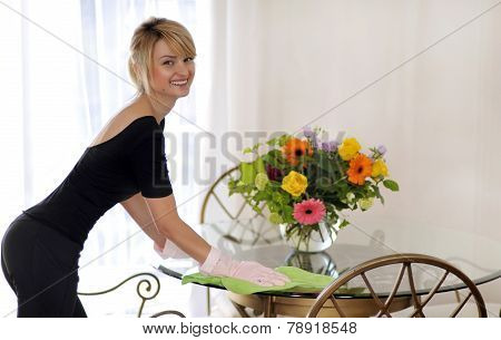 Cleaning in house woman clean table