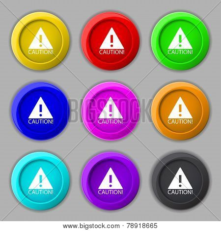 Attention Caution Sign Icon. Exclamation Mark. Hazard Warning Symbol. Set Of Colored Buttons Vector