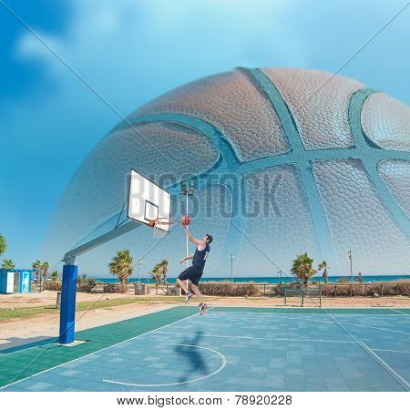 Basketball Player Shooting By The Sea