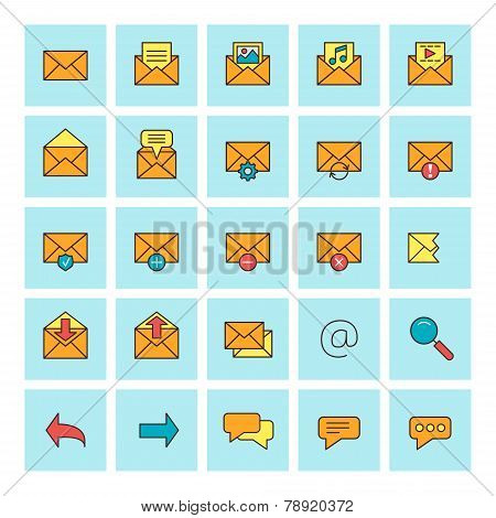 Mail And Message. Vector Icon Set In Flat Design Style. For Web Site Design And Mobile Apps.