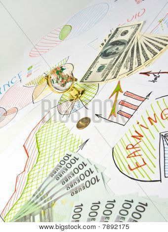 Business Diagrams, Glass Globe And Money