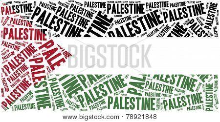 National Flag Of Palestine. Word Cloud Illustration.