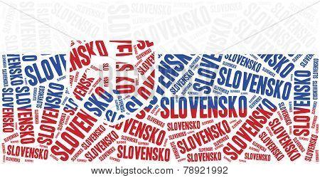 National Flag Of Slovakia. Word Cloud Illustration.