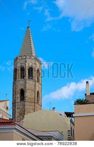 Historic Steeple In Alghero, Sardinia
