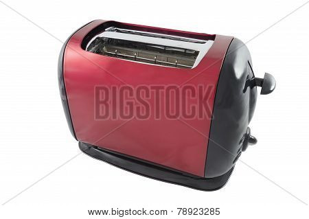 Abstract Red And Black Toaster Isolated Over White
