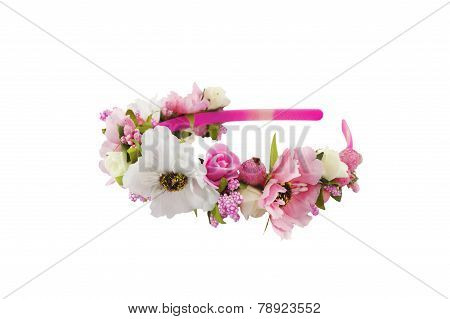 Head Band Decorated With Flowers Isolated Over White
