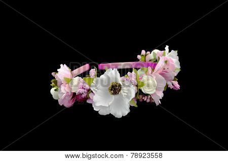 Head Band Decorated With Flowers Isolated Over Black