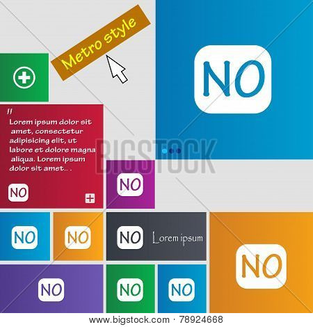 Norwegian Language Sign Icon. No Norway Translation Symbol. Set Of Colored Buttons. Vector