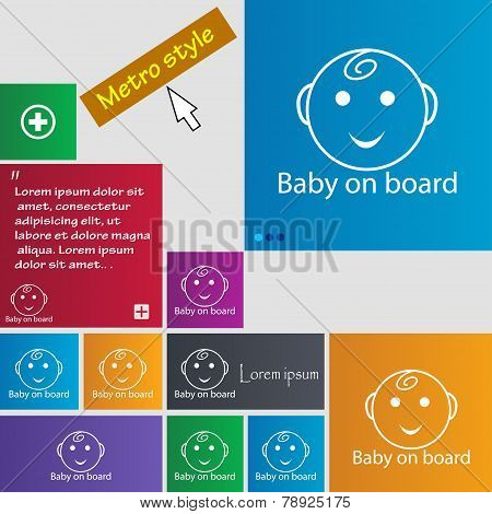 Baby On Board Sign Icon. Infant In Car Caution Symbol. Set Of Colored Buttons. Vector