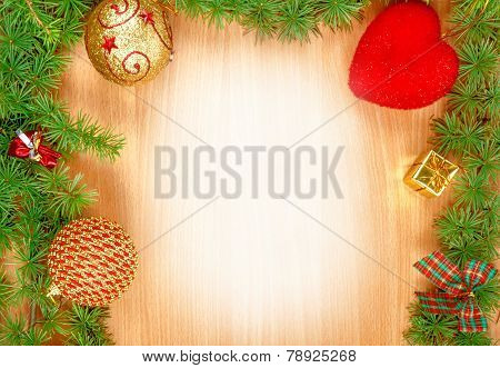 Blank White Space On Wood Greeting Card For New Year's Holidays