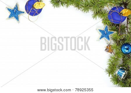 Christmas Decoration With Blue Ornamentals And Stars And Green Fir Tree On White