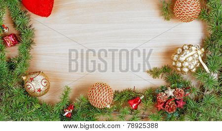 Christmas Decoration With Fir Tree  And Ornamentals Gifts Or Presents On White Wood