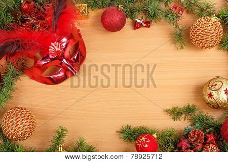 Christmas Decoration With Fir Tree , Glamor Mask Masquerade For Party And Celebration And Ornamental