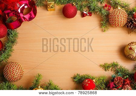 Christmas Decoration With Fir Tree And Glamor Mask