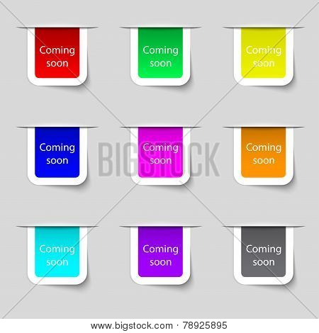 Coming Soon Sign Icon. Promotion Announcement Symbol. Set Of Colored Buttons. Vector