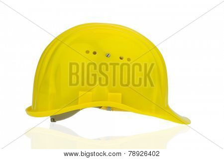 yellow industrial safety helmet, icon photo of labor, occupational safety and accident prevention