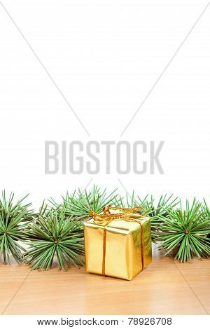 Wonderful Christmas Decoration With Fir Tree And Yellow Gift Or Present