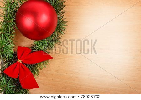 Wonderful Christmas Decoration With Fir Tree And Red Ornamentals