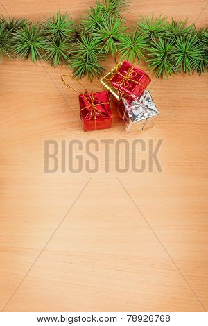 Wonderful Christmas Decoration With Fir Tree And Yellow Silver And Red Gifts