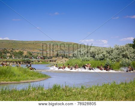 Native American Indians Crossing The River