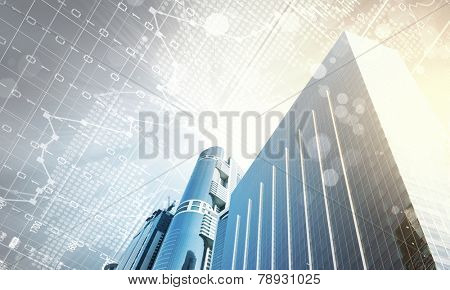 Digital image of bottom view of tall skyscraper