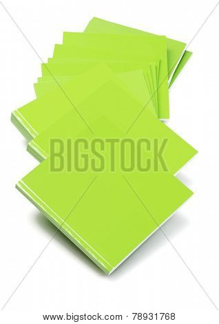 Row Of Green Cover Books Lying On White Background