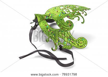 Green Carnival Mask On White Background